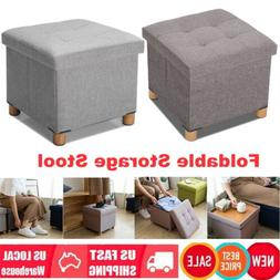 "15"" Multifunctional Foldable Ottoman Linen Chest Storage Foo"