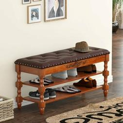2 Layers Shoe Storage Bench Shoe Rack with Lift Top Tufted L