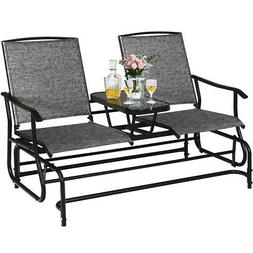 2 Person Outdoor Patio Double Glider Chair Loveseat Rocking