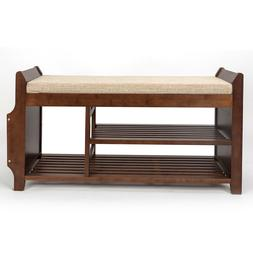 2-Tier Bamboo Shoe Rack Bench,Entryway Removable Cushion She