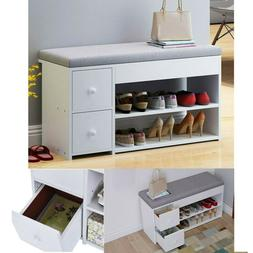 2Tier Shoes Bench Entryway Storage Rack Storage Soft Cushion