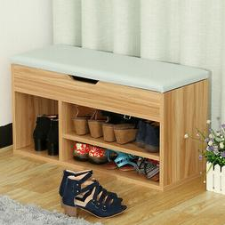 2Tier Wood Shoe Rack Bench Storage Soft Seat Stool Entryway