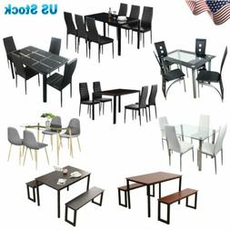 3 5 7 Piece Dining Table Set 2 Benches 4 6 Chairs Glass Wood