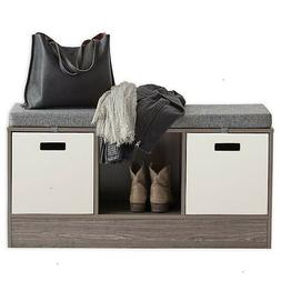 3-Cube Storage Bench in Gray