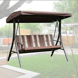 Outdoor 3 Person Patio Swing Hammock Chair with Canopy Awnin