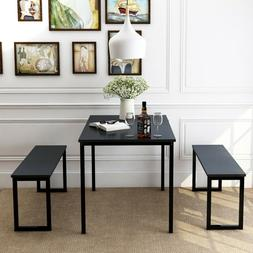 3 Piece Dining Set, Kitchen Table with Benches for Dining