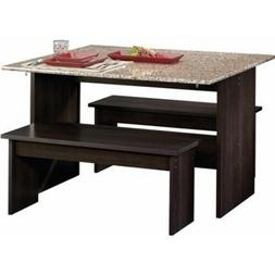 3 Piece Dining Table with Benches Set Furniture Kitchen Room