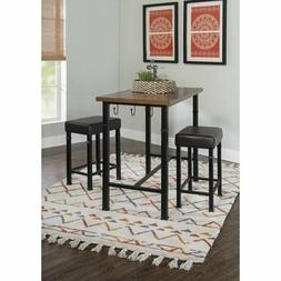 3 Piece Pub Table Set Dining Room Kitchen 2 Chairs Breakfast