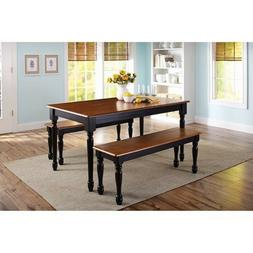 3 Piece Solid Wood Dining Set Table 2 Benches Black/Oak Farm