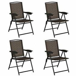 4 pcs Folding Sling Chairs with Steel Armrest and Adjustable