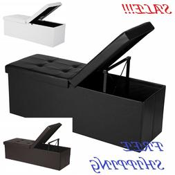 43 Inches Folding Storage Ottoman Bench with Flipping Lid St