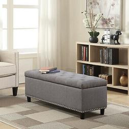 "48"" Tufted Fabric Storage Ottoman Lift Top Shoe Bench Seat F"