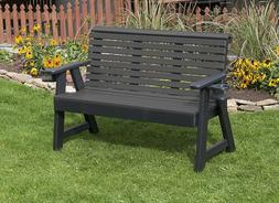 4Ft-Poly Lumber Amish Crafted Roll Back Porch Garden Bench W