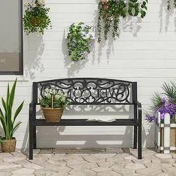 """Outsunny 50"""" 2 Seat Patio Decorative Lawn Garden Bench Steel"""