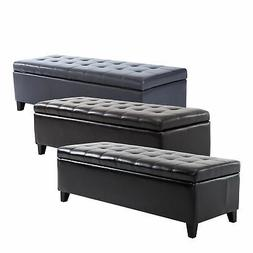 "51"" Tufted Top Storage Ottoman Bench PU Leather Organizer Ch"