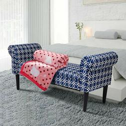 "53.5"" Bed Bench Rolled Arm Home Furniture Padded Bedroom"