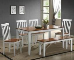 6 Pc White Dining Room Set Kitchen Table Chairs Bench Wood F