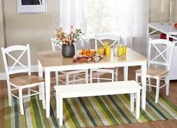 6 Pc White Dining Set Kitchen Room Table Chairs Bench Wood F