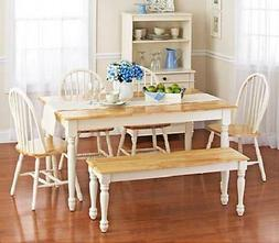 6 piece Farmhouse Dining Kitchen Set Table Bench 4 Windsor C