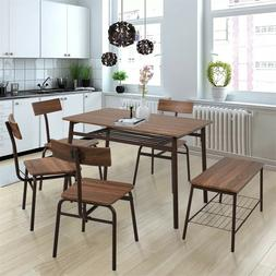 6-Piece Kitchen&Dining Room Table Chairs&Bench Set Modern Ho