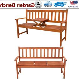 """62.2"""" Wood Garden Bench Patio Chair with Pop-up 16.9"""" Table"""