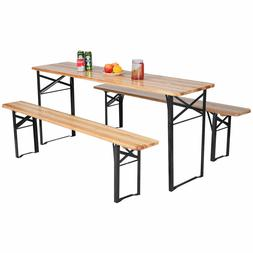 "70"" Wood Folding Outdoor Bench Chair Picnic Table Dining Cam"