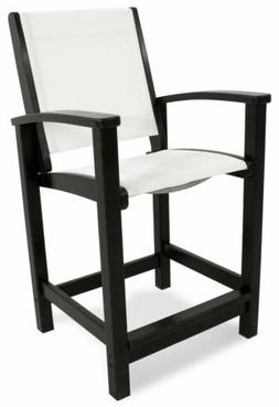 POLYWOOD 9011-BL901 Coastal Counter Chair in Black / White S