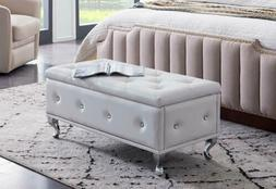 Kings Brand Furniture - White Vinyl Tufted Design Upholstere