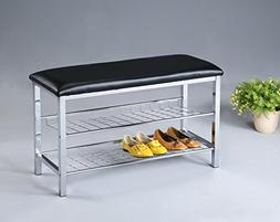 Roundhill Furniture Metal Shoe Bench with Faux Leather Seat,
