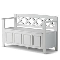 Simpli Home - Amherst Entryway Storage Bench - White