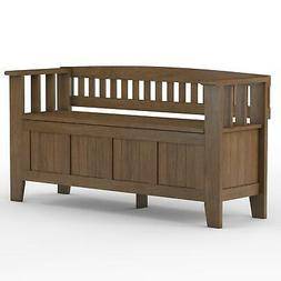 Acadian Solid Wood Entryway Storage Bench in Rustic Natural