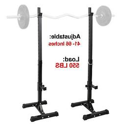 2pcs Adjustable Rack Standard Steel Squat Stands Barbell Fre