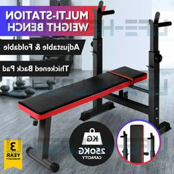 ADJUSTABLE WEIGHT BENCH Press Barbell Rack Exercise Strength