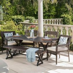 Alma Outdoor 6 Piece Aluminum Dining Set with Bench and Wick