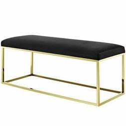 Modway Anticipate Fabric Bedroom Bench in Gold and Black