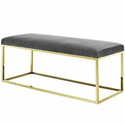 Modway Anticipate Fabric Bedroom Bench in Gold and Gray