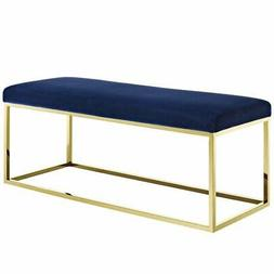 Modway Anticipate Fabric Bedroom Bench in Gold and Navy