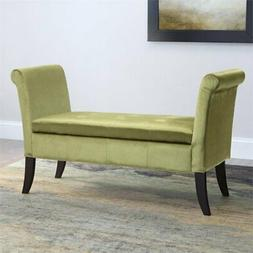 CorLiving Antonio Velvet Storage Bench with Scrolled Arms in