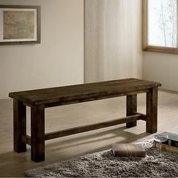 Furniture of America Aver Rustic Oak Solid Wood Dining Bench