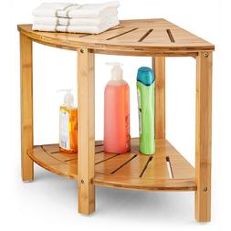 Bamboo Corner Shower Bench with Shelves for Home Decor, for