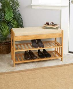 Bamboo Entry Bench with Storage Padded Seat 2 Shelves & Draw