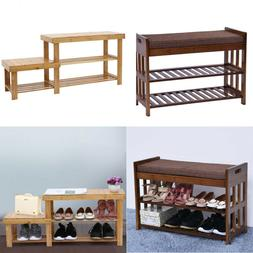 Bamboo Shoe Rack 2-layer Bench Organize Storage Indoor & Out