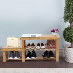 Bamboo Shoe Rack Bench with Stool Entryway 2 Tier Storage Or