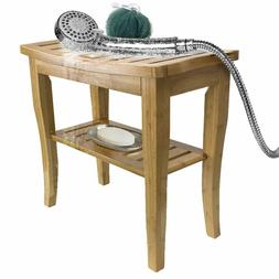Bamboo Shower Bench Stool with Shelf, 2-Tier Wood Storage &