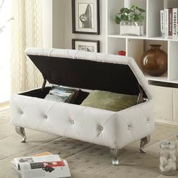 Bed Ottoman Bench With Storage Leather Upholstered Tufte