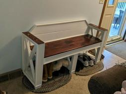 Bench Farmhouse Style Entryway Bench, Mud Room Bench, Shoe B