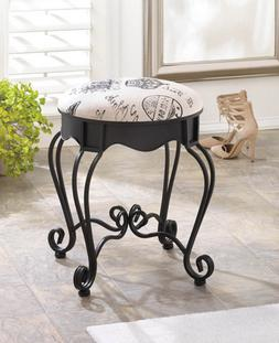 black french IRON scroll padded cushion sturdy bench vanity