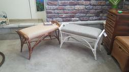 Brand New All Natural Rattan Bench with Cushion, Available i