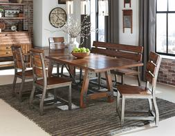 Brown Finish Dining Room Kitchen 6pcs Set Rectangular Table