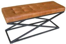 Brown Leather Bench - Metal X Legs Frame - Cushioned Buttone